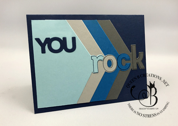 Stampin' Up! Lined Alphabet Layering Alphabet edgelits you rock card by Lisa Ann Bernard of Queen B Creations