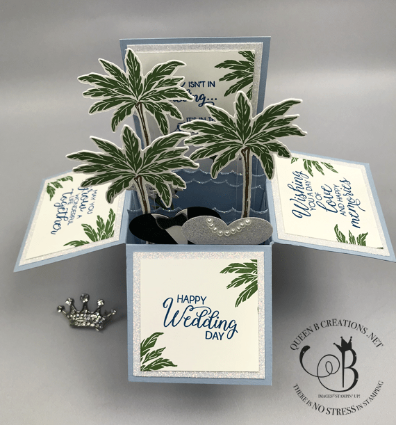 Stampin' Up! Beach Happy, High Tide, Beautiful Bouquet handmade Beach Wedding Card-in-a-box by Lisa Ann Bernard of Queen B Creations for the Pals Blog Hop May 2019