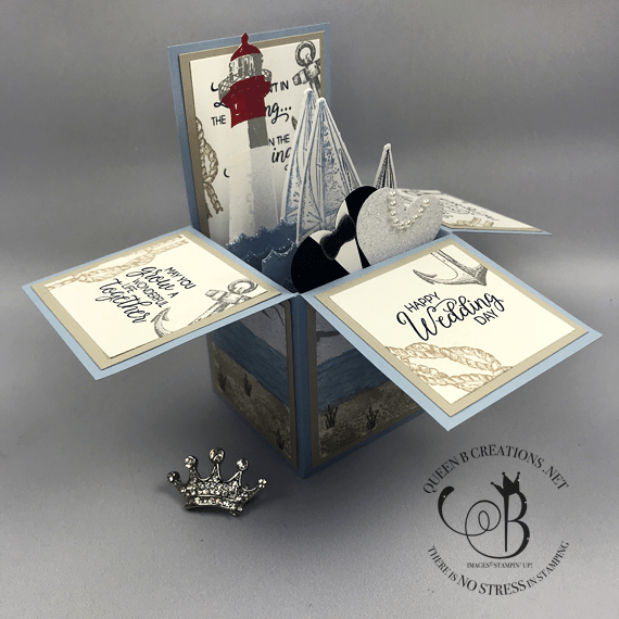 Stampin' Up! Sailing Home & High Tide Nautical Beach Lighthouse Wedding Card in a box by Lisa Ann Bernard of Queen B Creations