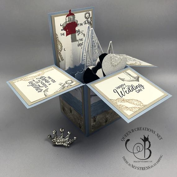 Stampin' Up! Sailing Home & High Tide Nautical Beach Lighthouse Wedding Card in a box by Lisa Ann Bernard of Queen B Creations