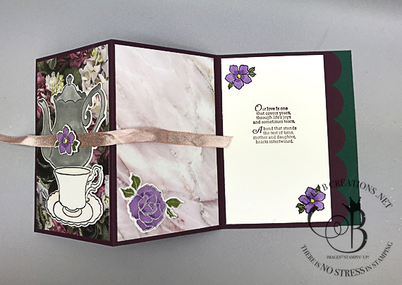 Stampin' Up! Tea Together bundle with Petal Promenade DSP fancy fold z-fold card by Lisa Ann Bernard of Queen B Creations