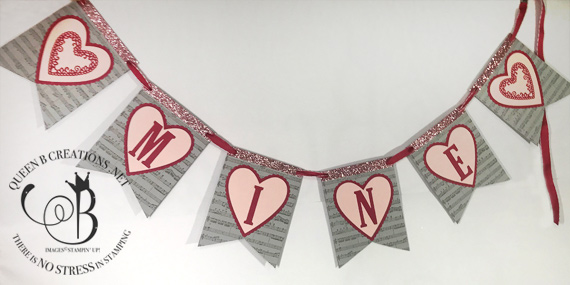 Stampin' Up! Be Mine Stitched framelit dies and large letter framelit dies were used to make this Valentines Day home decor banner by Lisa An Bernard of Queen B Creations