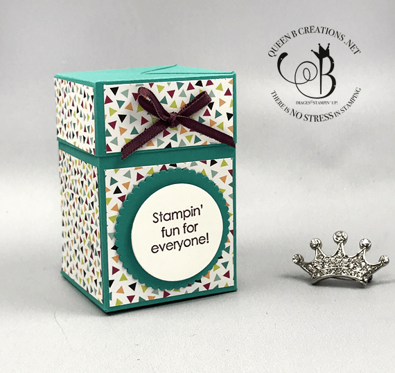 Stampin' Up! Stampin' Fun For Everyone 2006 stamp st self closing box #onstage2019 gifts for downline by Lisa Ann Bernard of Queen B Creations