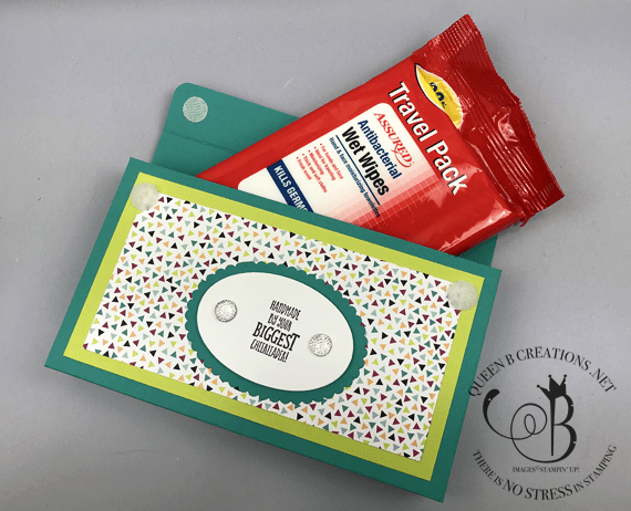 Stampin' Up! Stamping Your Way To The Top stamp set hand wipes cover #onstage2019 gifts for downline by Lisa Ann Bernard of Queen B Creations