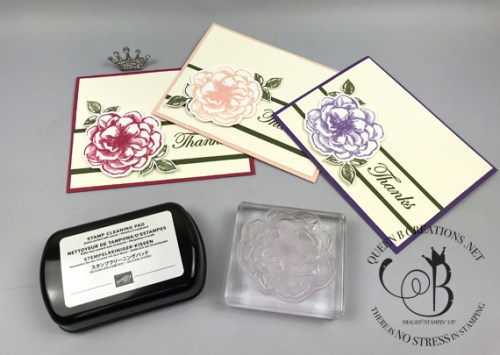Stampin' Up! stamp cleaner - prevent staining on photopolymer stamps - by Lisa Ann Bernard of Queen B Creations