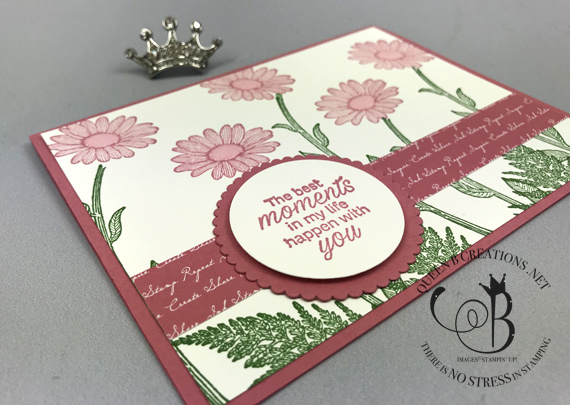 Stampin' Up! Daisy Lane stamp set in Rococo Rose. Handmade card by Lisa Ann Bernard of Queen B Creations