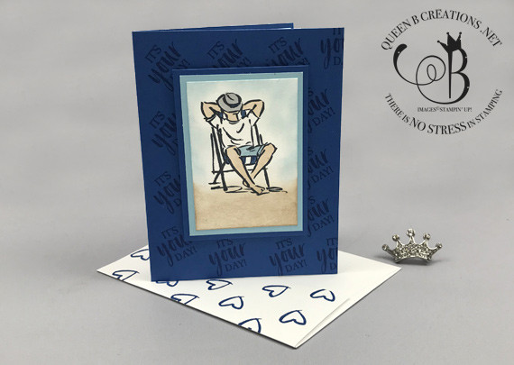 Stampin' Up! A Good Man Summertime card man on beach by Lisa Ann Bernard of Queen B Creations