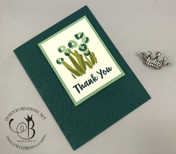 Stampin' Up! 2019-2021 in colors Abstract Impressions handmade thank you card by Lisa Ann Bernard of Queen B Creations Pretty Peacock