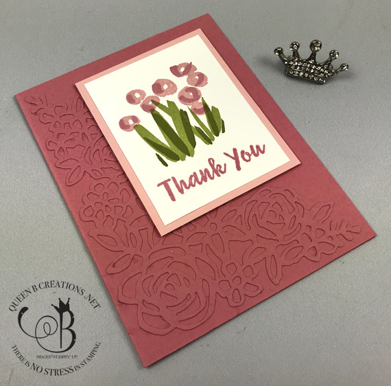 Stampin' Up! 2019-2021 in colors Abstract Impressions handmade thank you card by Lisa Ann Bernard of Queen B Creations Rococo Rose