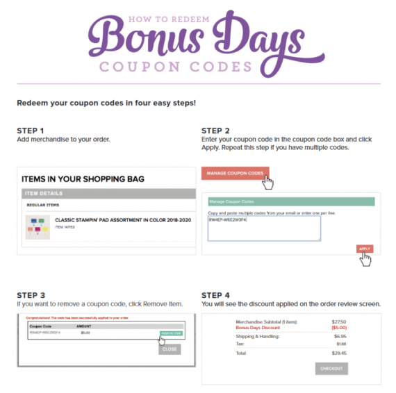 Redeem your Stampin' Up! 2019 Bonus Days Coupons in August 2019 at www.QueenBCreations.net