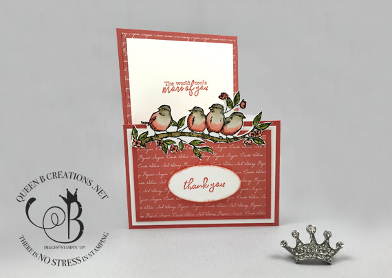 Stampin' Up! Free As A Bird handmade Thank You card with gift card holder by Lisa Ann Bernard of Queen B Creations