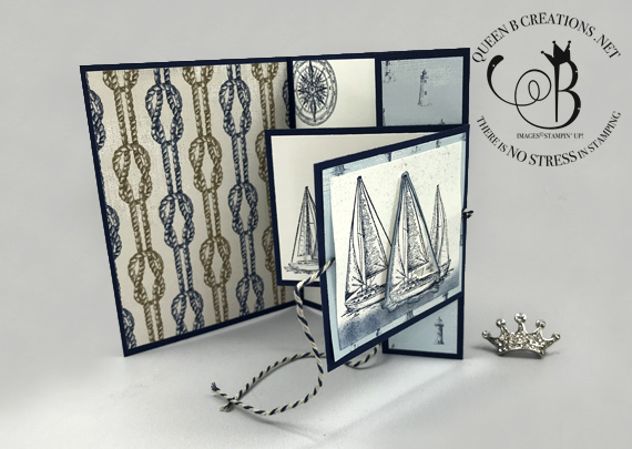Stampin' Up! Smooth Sailing handmade nautical lighthouse double flap joy fold card by Lisa Ann Bernard of Queen B Creations