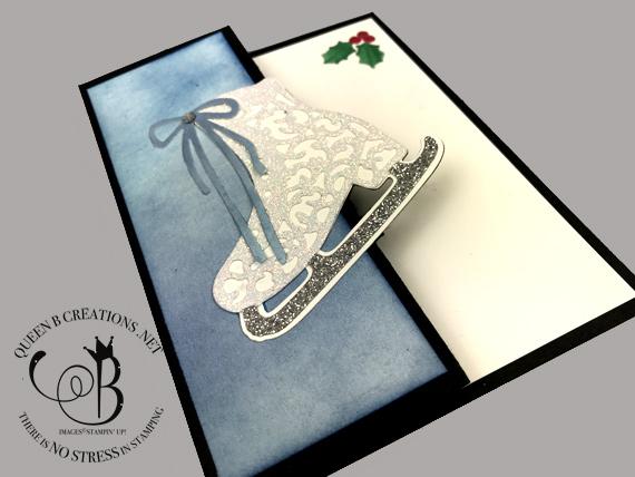 Stampin' Up! Free Skate fancy fold Christmas card by Lisa Ann Bernard of Queen B Creations
