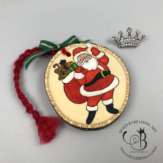 Stampin' Up! Holly Jolly Christmas Wood Christmas Ornament colored with Stampin' Blends by Lisa Ann Bernard of Queen B Creations