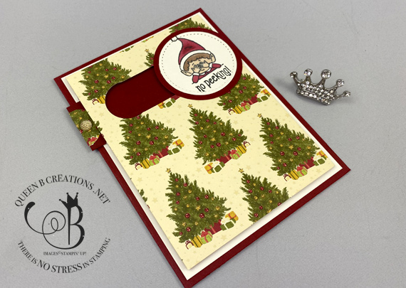 Stampin' Up! #Elfie stamp set and Night Before Christmas DSP simple slider card by Lisa Ann Bernard of Queen B Creations