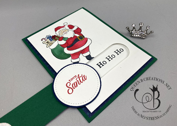 Stampin' Up! Holly Jolly Santa simple slider card by Lisa Ann Bernard of Queen B Creations