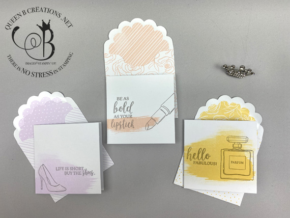 Stampin' Up! Best Dressed to Impress 3x3 notecards with envelopes by Lisa Ann Bernard of Queen B Creations
