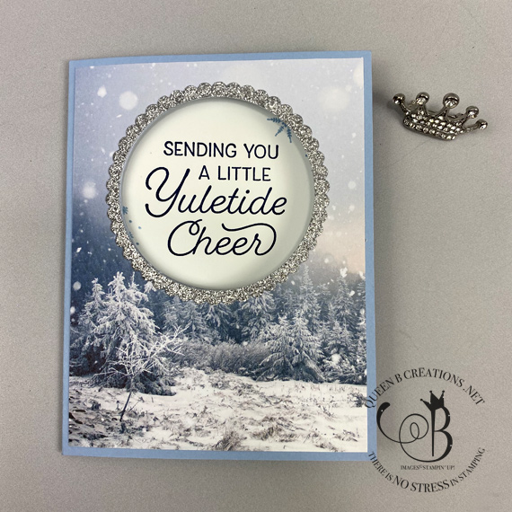 Stampin' Up! Frosted Foliage stamp set with Feels Like Frost DSP fancy fold handmade card by Lisa Ann Bernard of Queen B Creations