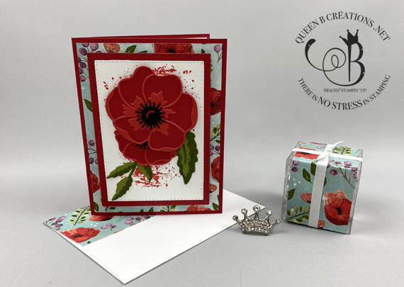 Stampin' Up! Painted Poppies Peaceful Poppies Dies Peaceful Poppies DSP handmade card with tiny treat box by Lisa Ann Bernard of Queen B Creations