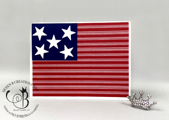 Stampin' Up! Patriotic Alternative Handmade American Flag card by Lisa Ann Bernard of Queen B Creations
