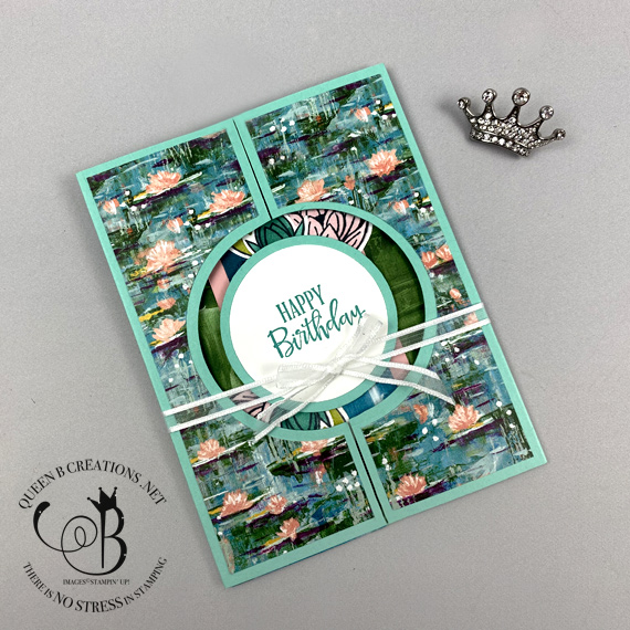 Stampin' Up! Lovely Lily Pad stamp set and Lasting Lily DSP Sale-a-bration 2020 fancy fold by Lisa Ann Bernard of Queen B Creations