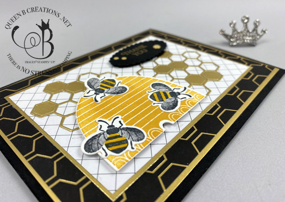 Stampin' Up! Honey Bee Bundle Detailed Bee Dies handmade thank you card by Lisa Ann Bernard of Queen B Creations