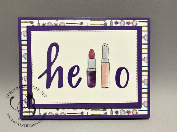Stampin' Up! Best Dressed Hand-Lettered Prose Hello with lipsticks handmade card by Lisa Ann Bernard of Queen B Creations