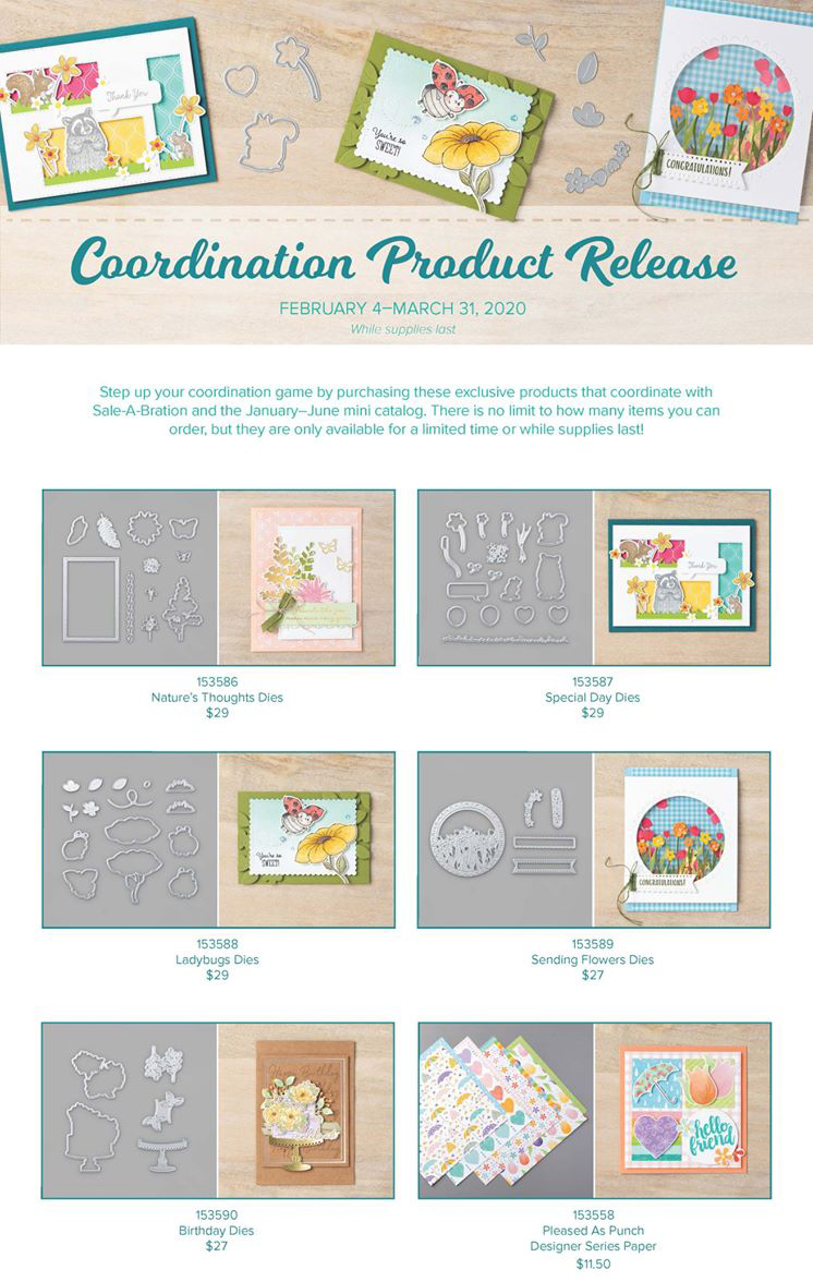 Stampin' Up! Sale-A-Bration 2020 Coordination Product Limited Release