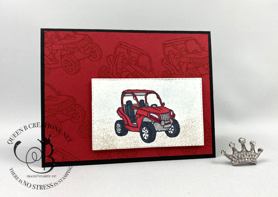 Stampin' Up! Pedal to the Metal go cart masculine card by Lisa Ann Bernard of Queen B Creations