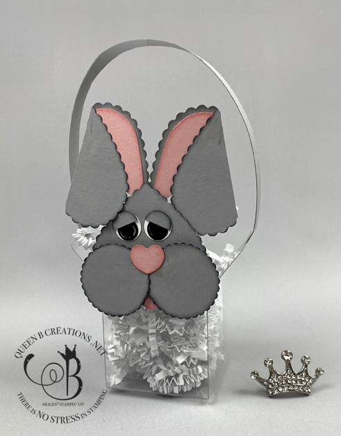 Stampin' Up! Punch Art bunny on acetate box by Lisa Ann Bernard of Queen B Creations