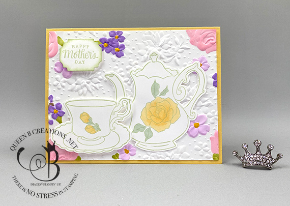 Stampin' Up! Tea Together Country Floral Blends Mother's Day Card by Lisa Ann Bernard of Queen B Creations