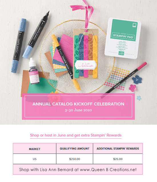 earn extra stampin rewards June 2020 www.QueenBCreations.net