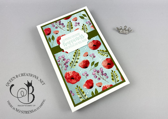 Stampin' Up! Peaceful Poppies DSP box of cards and sentiments by Lisa Ann Bernard of Queen B Creations