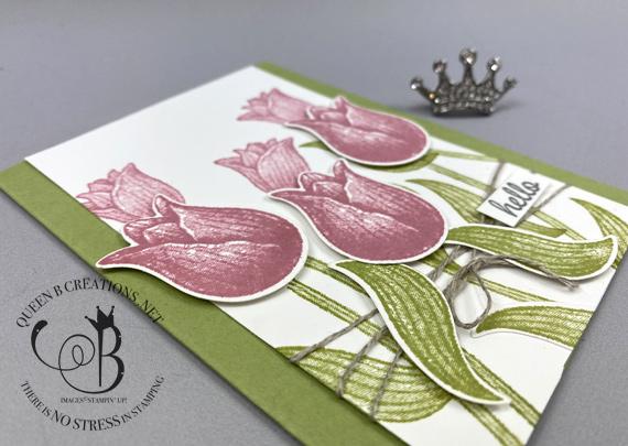 Stampin' Up! Timeless Tulips handmade hello card by Lisa Ann Bernard of Queen B Creations