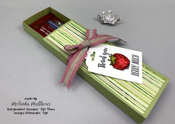 Stampin' Up! Wittycisms treat box by Melinda Matthews of Creative Royalty
