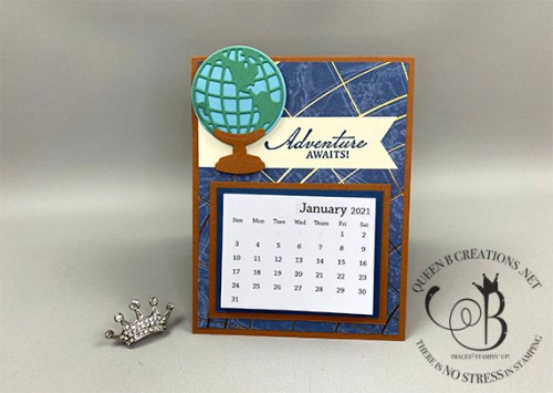 Stampin' Up! Beautiful World of Good masculine desk calendar by Lisa Ann Bernard of Queen B Creations