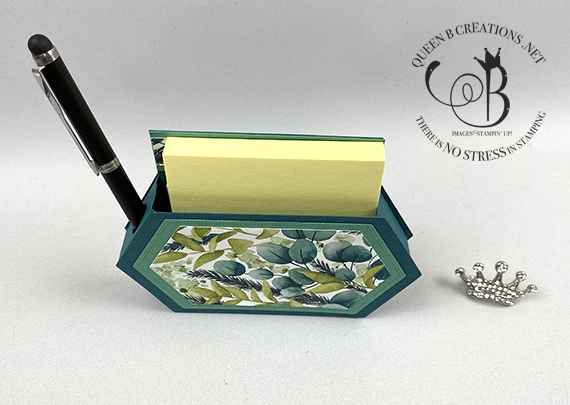Stampin' Up! Stitched Label Dies Post It Note pend and calendar desk set by Lisa Ann Bernard of Queen B Creations