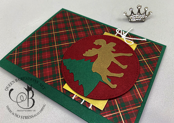 Stampin' Up! Merry Moose Plaid Hand Stamped Christmas Card by Lisa Ann Bernard of Queen B Creations