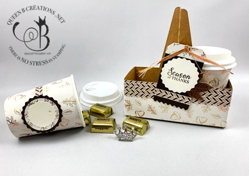 Stampin' Up! mini coffee cups in mini coffee carrier wrapped in Guilded Autumn DSP by Lisa An Benard of Queen B Creations