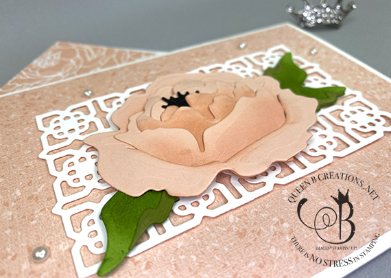 Stampin' Up!, Prized Peony / Many Medallions Die handmade card by Lisa Ann Bernard of Queen B Creations