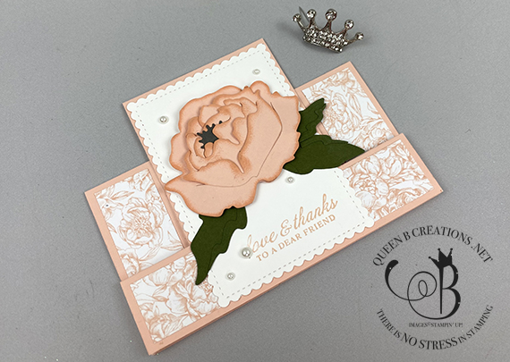 Stampin' Up! Prized Peony fun fold card by Lisa Ann Bernard of Queen B Creations
