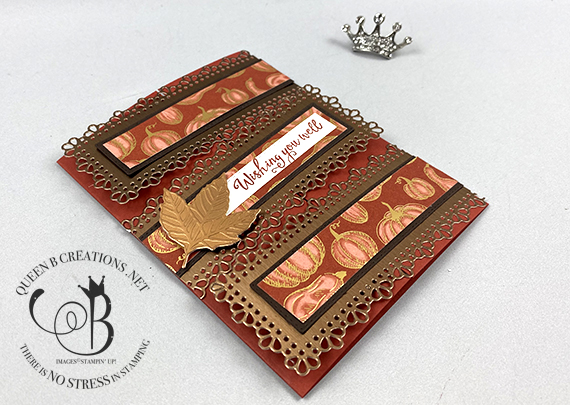 Stampin' Up! Gilded Autumn Gather Together interlocking gatefold card by Lisa Ann Bernard of Queen B Creations