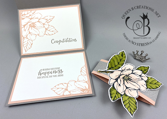 Stampin' Up! Good Morning Magnolia Wedding card with belly band by Lisa Ann Bernard of Queen B Creations