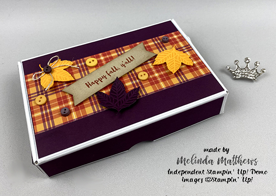 Stampin' Up! Perfectly Plaid fall mini paper pumpkin box treats by Melinda Matthews for Queen B Creations