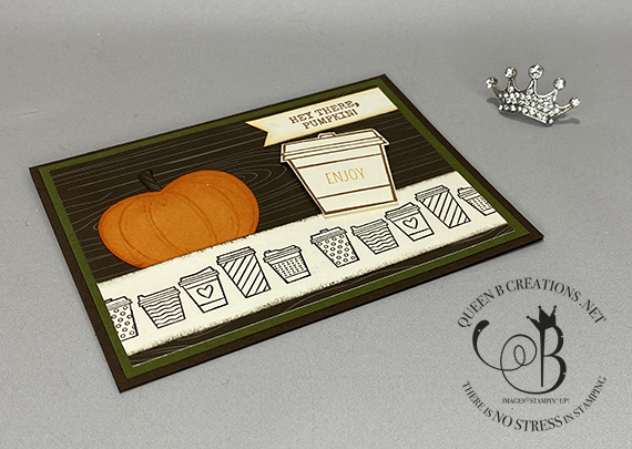 Stampin' Up! Press On Harvest Hellos Pumpkin Coffee card by Lisa Ann Bernard of Queen B Creations