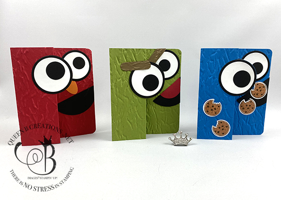 Stampin' Up! circle swing card Elmo, Cookie Monster, Oscar the Grouch cards by Lisa Ann Bernard of Queen B Creations