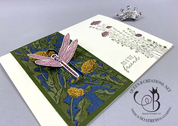 Stampin' Up! Dragonfly Garden dragonfly closure card by Lisa Ann Bernard of Queen B Creations