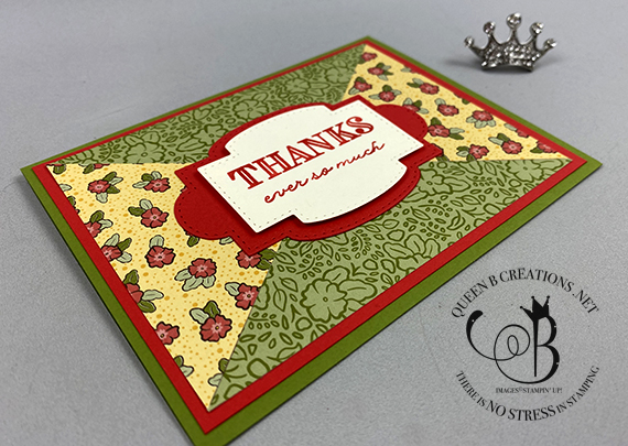 Stampin' Up! Ornate Garden triangle paper piecing thank you card by Lisa Ann Bernard of Queen B Creations
