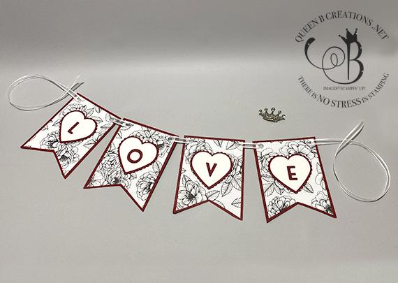Stampin' Up! Playful Alphabet True Love Heart Punch Valentines Day love banner by Lisa Ann Bernard of Queen B Creations