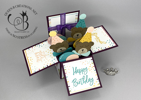 Stampin' Up! Sweet Ice Cream Corner birthday card in a box teddy bears by Lisa Ann Bernard of Queen B Creations